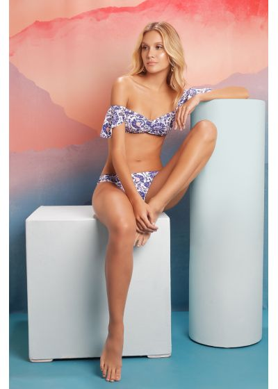 Bandeau bikini blue flowers with flouncy sleeves - SAMBA INDIGO FLORA