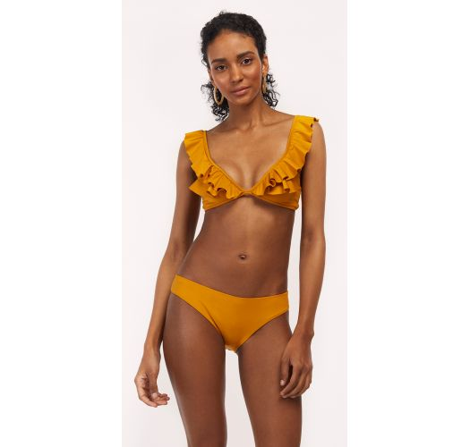 Mustard ruffled triangle bikini - SAMBA RIO MELLOW YELLOW