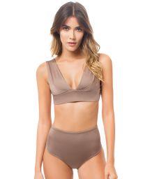 Glossy chestnut brown high-waisted bikini bottom and bra top - SIERRA STARDUST