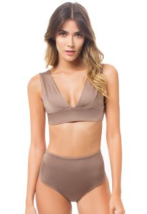 Glossy chestnut brown high-waisted bikini bottom and bra top - SIERRA STARDUST