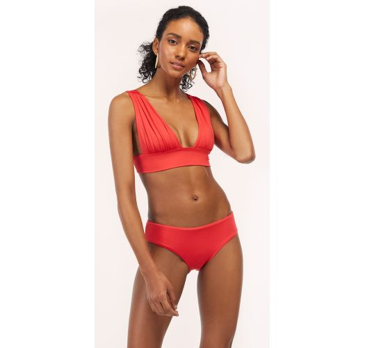 Red / orange longline bikini - TUCAN AURORA GERANIUM RED
