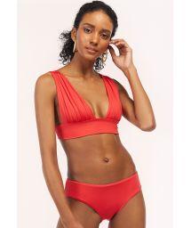 Bikini crop top rouge orangé nœud au dos - TUCAN AURORA GERANIUM RED