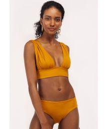 Bikini crop top jaune moutarde nœud au dos - TUCAN AURORA MELLOW YELLOW