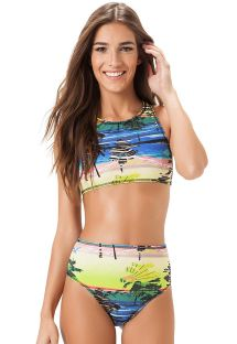 High-waisted bikini, crop top with racer back - ALTO ALEGRE