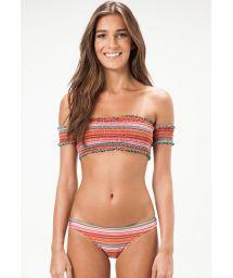 Smocked off-the-shoulder bandeau bikini - BALTIMORE