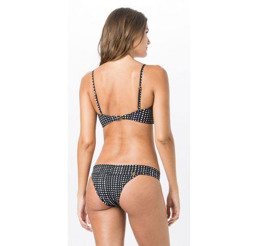 Black fixed bikini in white polka dots - BANDEAU POLKA