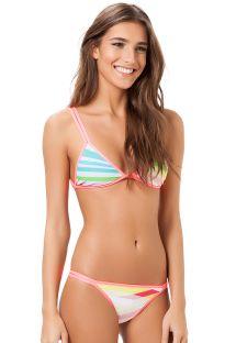 Runway triangle bikini with two-tone pink edges - BIQUINI RAINBOW FASHION SHOW