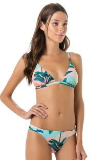 Fixed triangle bikini in tropical pastel print - BOJO BRISA