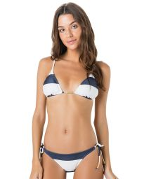 White and navy side-tie bikini with triangle top - BOJO CLUB