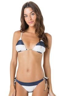 Brasilian Bikini, blaue Bänder, marineblau/weiß - BOJO CLUB