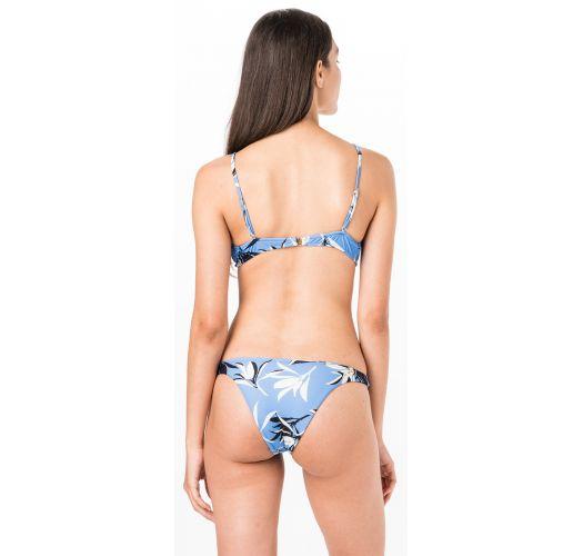 Blue bra bikini with front knot in floral print - BOW AZUL JONES