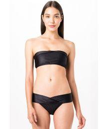 Geriffelter Bandeau-Bikini mit Revers - BUSTIE PRETO LISO CANELADO