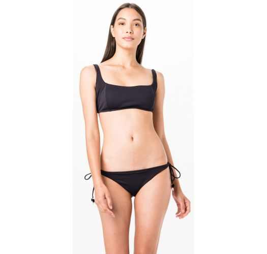 Black Brazilian bikini with pompoms - CAMISETA LISO FLUITY