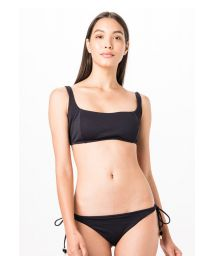 Black Brazilian bikini with pompoms - CAMISETA LISO FLUITY