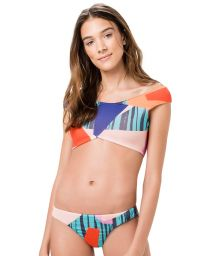Crop top sporty bikini in geometric print - CANOA PRISMA