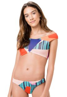 Bikini deportivo estampado geométrico con crop top - CANOA PRISMA