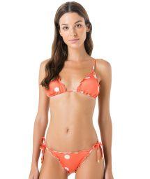 Bikini brésilien scrunch corail à pois blancs - CORTININHA FRUFRU POP