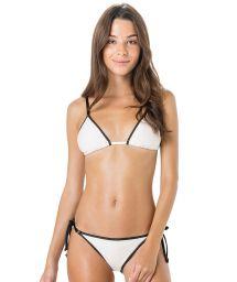 White triangle bikini with black border - CORTININHA VIES ARGOLA BRANCO
