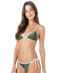 Green triangle bikini with white border - CORTININHA VIES ARGOLA VERDE