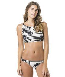Black and white crop top bikini in palm tree print - CROP ROLLER