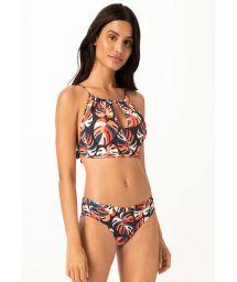Crop-Top-Bikini marineblaugrundig mit tropischem Blattprint - CROPPED ADAO