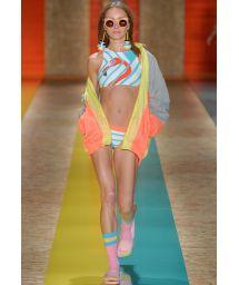Runway bikini crop top, flamingo motif - EL SALVADOR