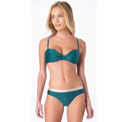Bikini cheeky fijo verde y beige con top balconette - FIXED INTIMATES