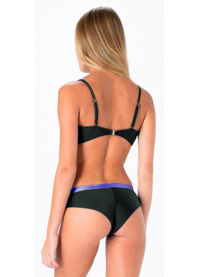 Black & purple fixed cheeky Brazilian bikini - FIXED INTIMATES BLACK