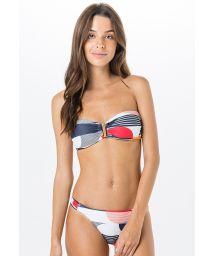Bikini bandeau géométrique coloré - FRAZINDA MATCH