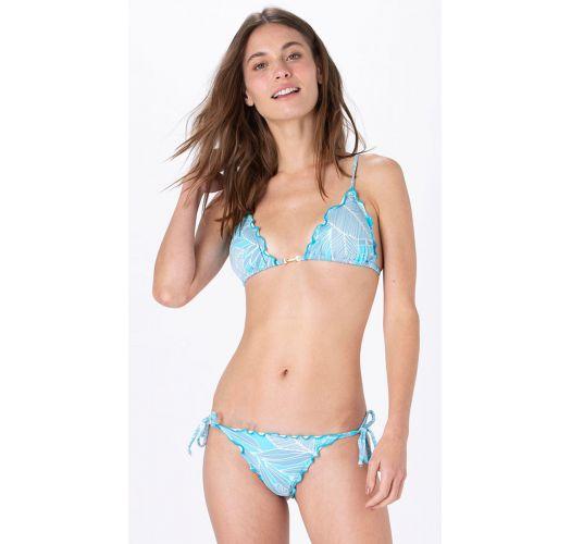 Sky blue print side-tie scrunch bikini - FRUFRU BOTANIQUE