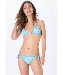 Sky blue print side-tie scrunch bikini - FRUFRU BOTANIQUE