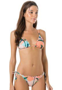 Braziliaanse bikini van scrunchstof met tropische print in pastelkleuren - FRUFRU BRISA