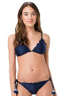 Marinblå, skrynklad brasiliansk bikini med tofsar - FRUFRU MARINHO