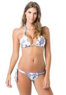 White halter bikini with blue flowers print - HALTER QUEEN