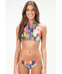 Sport-style Brazilian bikini with zipped crop top - HOUSTON
