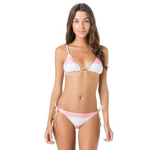 Brasiliansk bikini med lyserøde/hvide striber - JUNTO CLUB