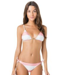White and pink side-tie bikini with triangle top - JUNTO CLUB