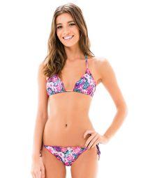 Mauve pink floral Brazilian scrunch bikini - LACINHO FRUFRU KITTY