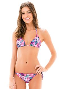 Açık mor/pembe çiçek desenli kırışık Brezilya bikinisi - LACINHO FRUFRU KITTY