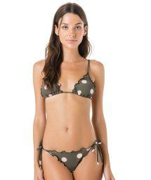 Side-tie grey Brazilian bikini - polka dots - LACINHO FRUFRU POP