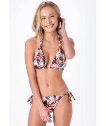 Light pink leaf print halter triangle bikini - LARGO AMAZONIA