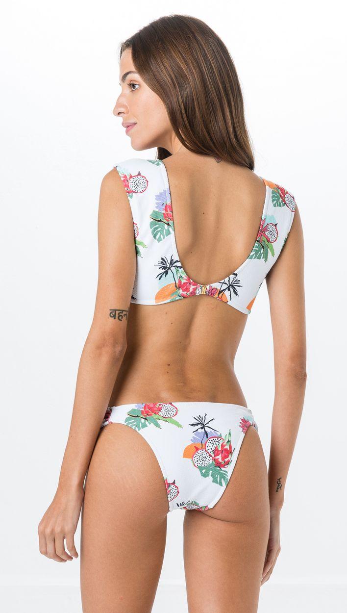Vit texturerad bikini med tropiskt tryck, BH med knytning fram - LATERAL PITAYA
