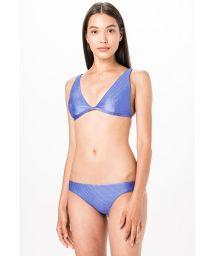 Lavender blue ribbed halter bikini - LONGO AZUL LISO CANELADO