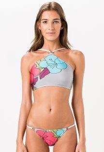 Szare bikini typu crop top w duży kwiatowy wzór - LUMIER
