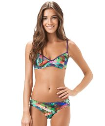 Printed bikini with balconette top and fixed bottom - MAR DO CARIBE