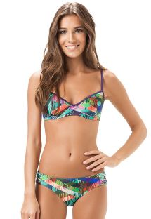 Bikini, gemustert, Balconette-Top, feste Hose - MAR DO CARIBE