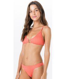 Textured coral bra bikini, golden details - METAL ANARRUGA CORAL