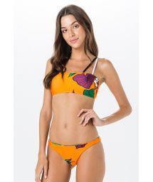 Brasilian Bandeau Bikini mit orangefarbenem Blumenaufdruck - MIRACLE AMELIA
