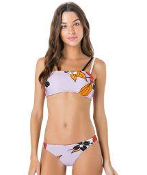 Bikini bandeau mauve à fleurs bretelles bicolores - MIRACLE AMELIA LILA