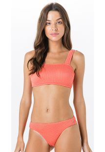 Textured coral bra bikini - sporty cut - MIRACLE ANARRUGA CORAL